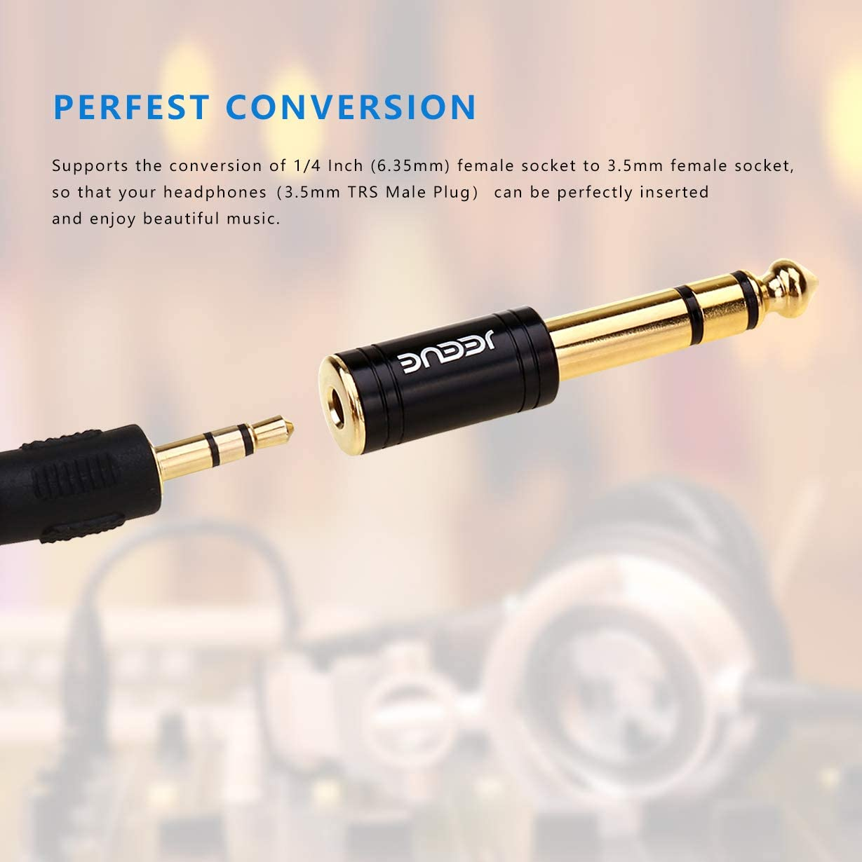 Gold 3.5mm TRS to 6.35mm Stereo Pure Copper Jack Adaptor Bring You Professional Sound JEEUE 6.35mm to 3.5mm Headphones Adapter for Audio Connector Cables 1+1 2PCS