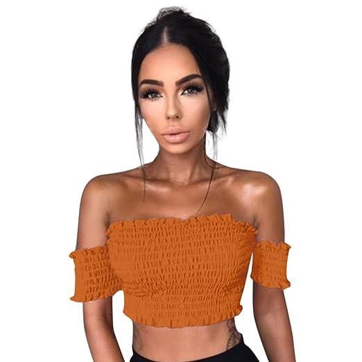 ffac0b4752e Womens Casual Slim Tees Basic Off Shoulder Short Tube Crop Top Strapless  Short Sleeve Ribbed Tube