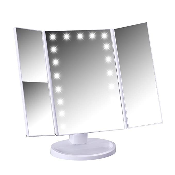 HDE Lighted Vanity Make Up Mirror Tri-Fold Adjustable Bathroom Mirror 21 LED Lights 1x/2x/3x Magnification and 180° Free Rotation
