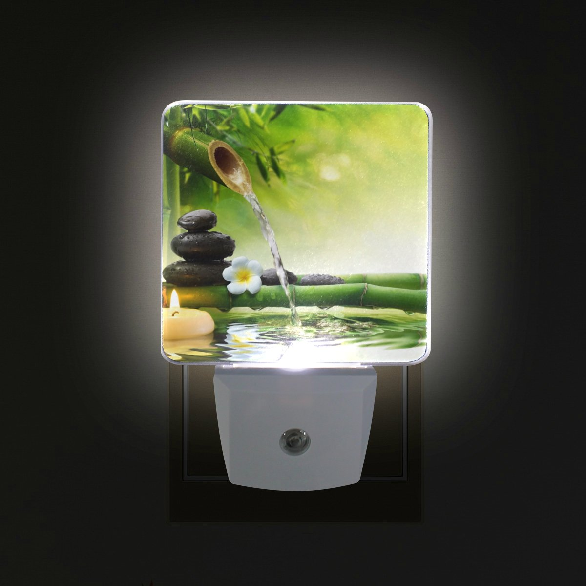 ALIREA Spa Stones Plug in LED Night Light Auto Sensor Smart Dusk to Dawn Decorative Night for Bedroom, Bathroom, Kitchen, Hallway, Stairs,Hallway,Baby's Room, Energy Saving