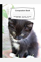 """Cat Composition Notebook, 4x4 Graph Paper: 4x4 Quad Rule Composition Book, Student Exercise Science Math Grid, 200 pages, 7.44"""" x 9.69"""" (Cat Series) Paperback"""
