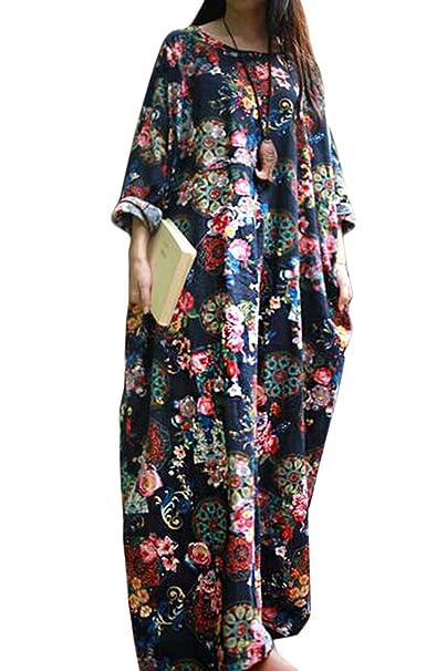 yulinge La Mujer De Algodon Y Lino Holgados Vestidos Vintage Plus Tamaño Vestido Shift Marina S