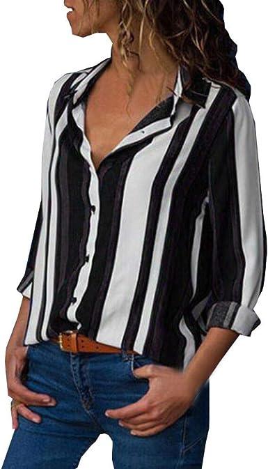 TOFOTL - Blusa para Mujer con Cuello en V a Rayas y Botones de Moda, Manga Larga, para la Playa: Amazon.es: Ropa y accesorios