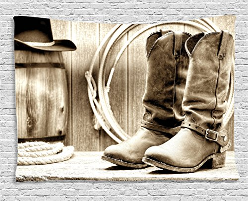 Ambesonne Western Decor Tapestry, Traditional Rodeo Supplies with Roper Boots in Vintage Colors Nostalgic Wild Photo, Wall Hanging for Bedroom Living Room Dorm, 60 W X 40 L inches, Black and White ()