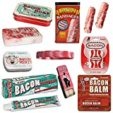 Extreme Bacon Bath & Grooming Kit Gift Pack (8pc Set) - Bacon Toothpaste, Bandages, Dental Floss, Soap, Toothpicks, Breath Mints & Lip Balm + Silicone Wristband