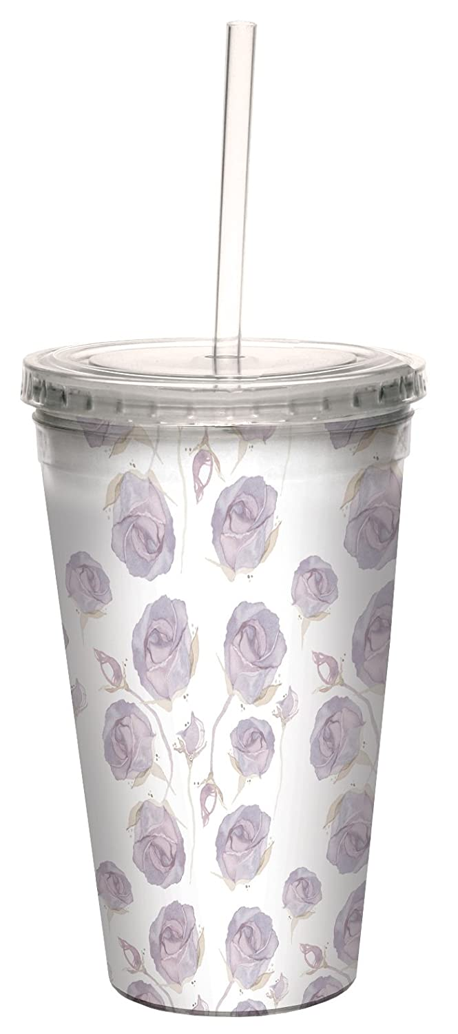Tree-Free Greetings cc33623 Delicate Watercolor Roses in Pink by Shell Rummel 16 Ounce Artful Double-Walled Cool Cup with Reusable Straw