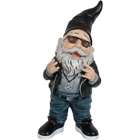 Sunnydaze Garden Gnome Randy The Rebel Biker, 14 Inch Tall