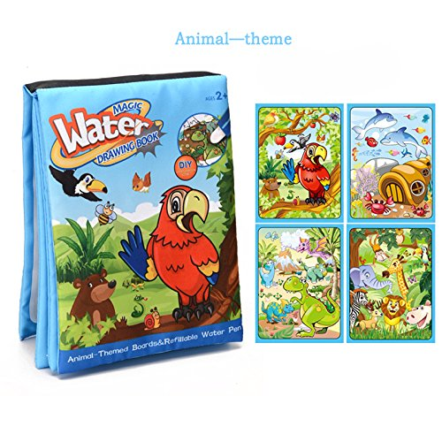 Animal Magic Water painting water Book drawing Book (Cloth) with Magic water Pen travel Doodle Mat Children's writing doodle kids Development Toys Painting for toddlers