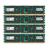 Kingston Technology ValueRAM 64 GB Kit of 4 (4x16 GB Modules) 1333MHz DDR3 PC3-10600 ECC Reg CL9 DIMM DR x4 1.35V (KVR13LR9D4K4/64)