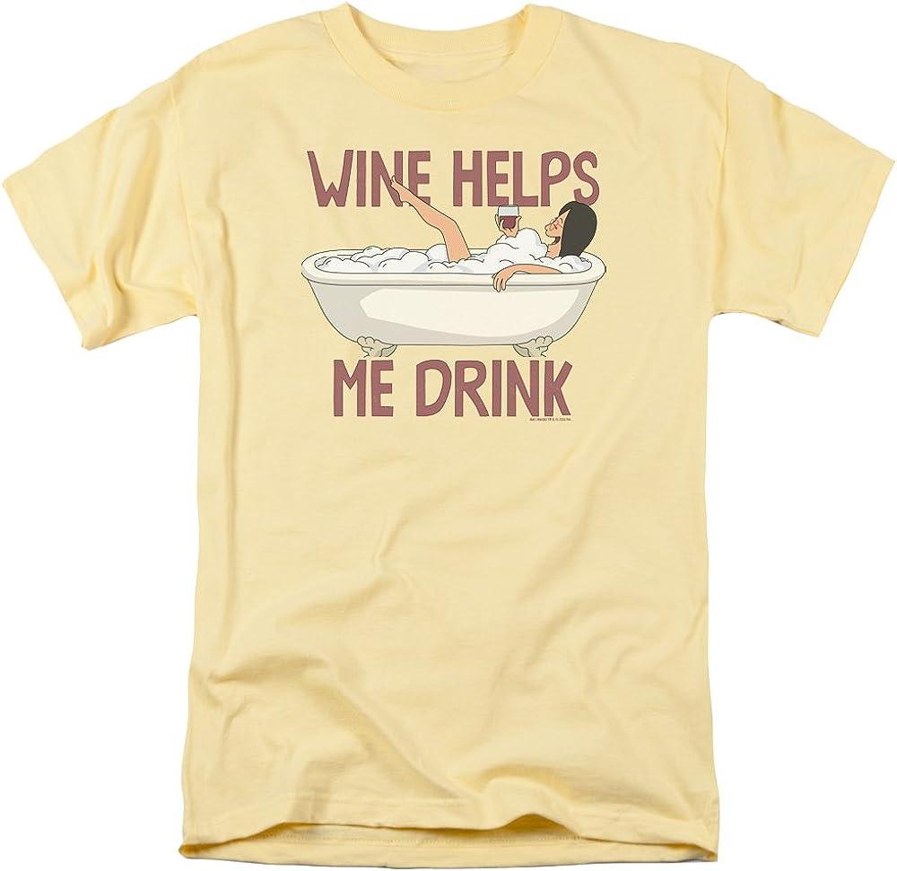Bob's Burgers Cartoon TV Comedy Series Wine Helps Me Drink Adult T-Shirt Tee