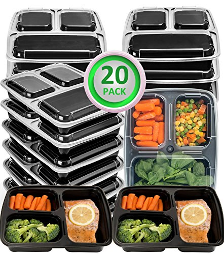 20 Pack Meal Prep Containers 3 Compartment Plastic Food Container with Lids-Divided Bento Lunch...