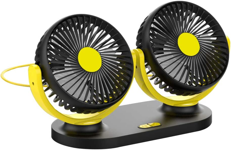 Mini Cooling Table Stroller Portable Desktop 12v//24v Car Universal Silent USB Fan Car Double-Head