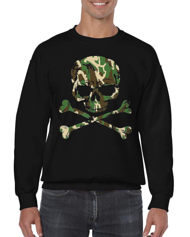 SpiritForged Apparel Camo Skull /& Crossbones Crewneck Sweater