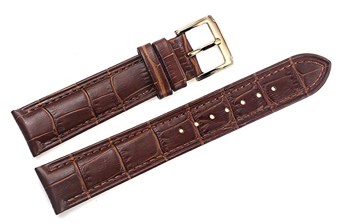 debcdb23b315c 21mm Brown Luxury Italian Leather Replacement Watch Straps/Bands Grosgrain  Padded for High-end Watches