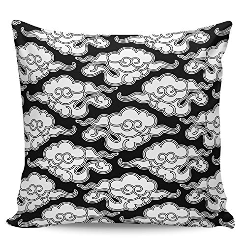 Velvet Soft Decorative Square Throw Pillow Covers Euro Shams Cushion Cases Pillowcases for Sofa Couch Chair Bedroom Car, Black White Chinese Vintage Cloud Japanese China Oriental Design 20