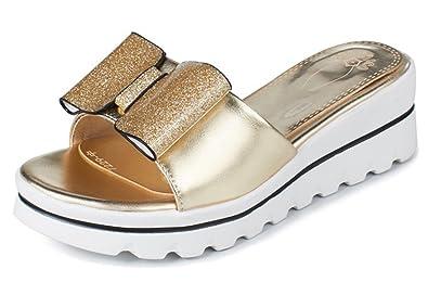 2995c775b8013 Aisun Women s Comfort Thick Sole Dressy Open Toe Slip On Medium Heel Wedge  Platform Slide Sandals