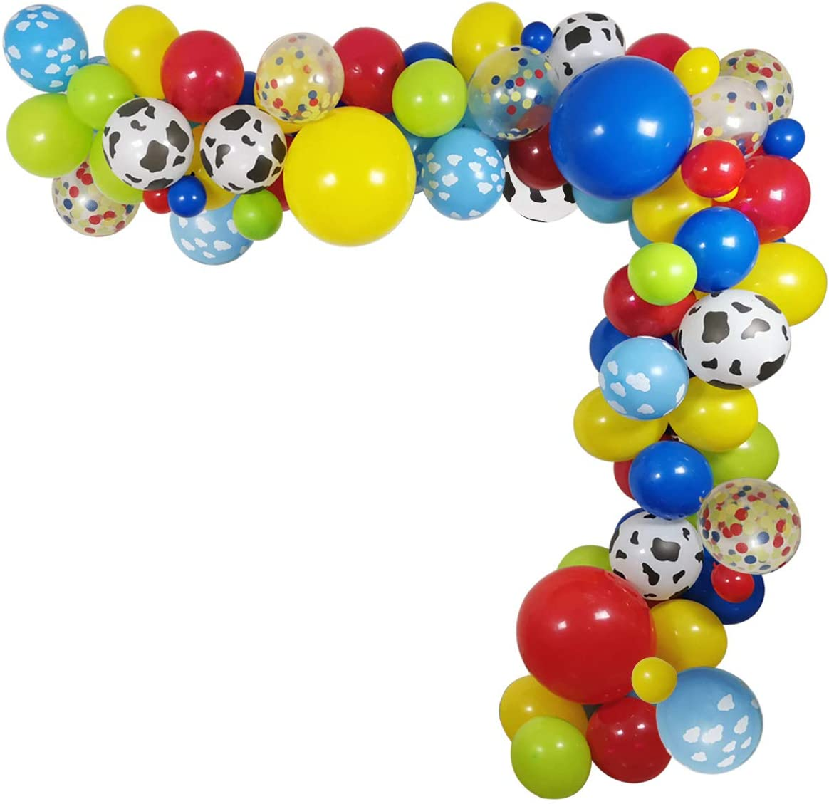 100 Pack Toy Story Party Birthday Balloons Arch Garland, Halloween Costume 12 INCH Cow Pattern Printed Yellow Red Blue Green Latex Balloons for Kids Birthday 1st 3rd 6th Baby Shower Decorations