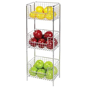mDesign 3 Tier Vertical Standing Kitchen Pantry Food Shelving Unit - Decorative Metal Storage Organizer Tower Rack with 3 Basket Bins to Hold and Organize Fruit, Potatoes, Snacks - Chrome