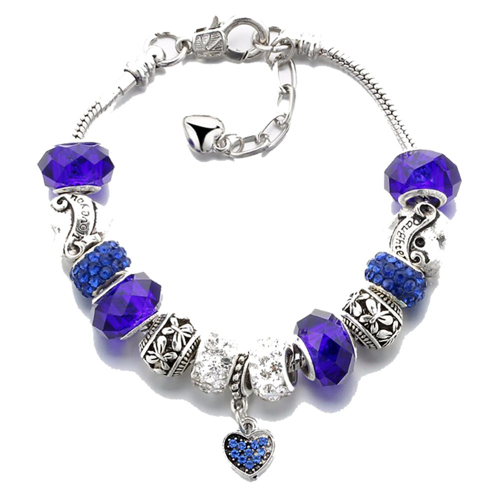 IDB Vintage Silver ToneI Love You and Daughter Glass Beaded Bracelet - Multiple Colors Available (Blue tone)