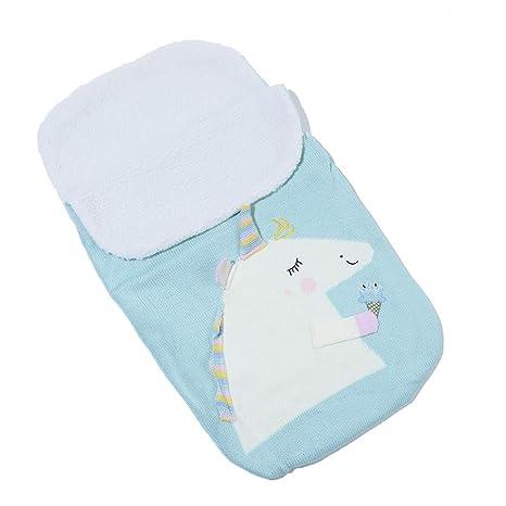 Saco de dormir para bebé, unicornio más terciopelo tejido de punto de lana cálida bolsa