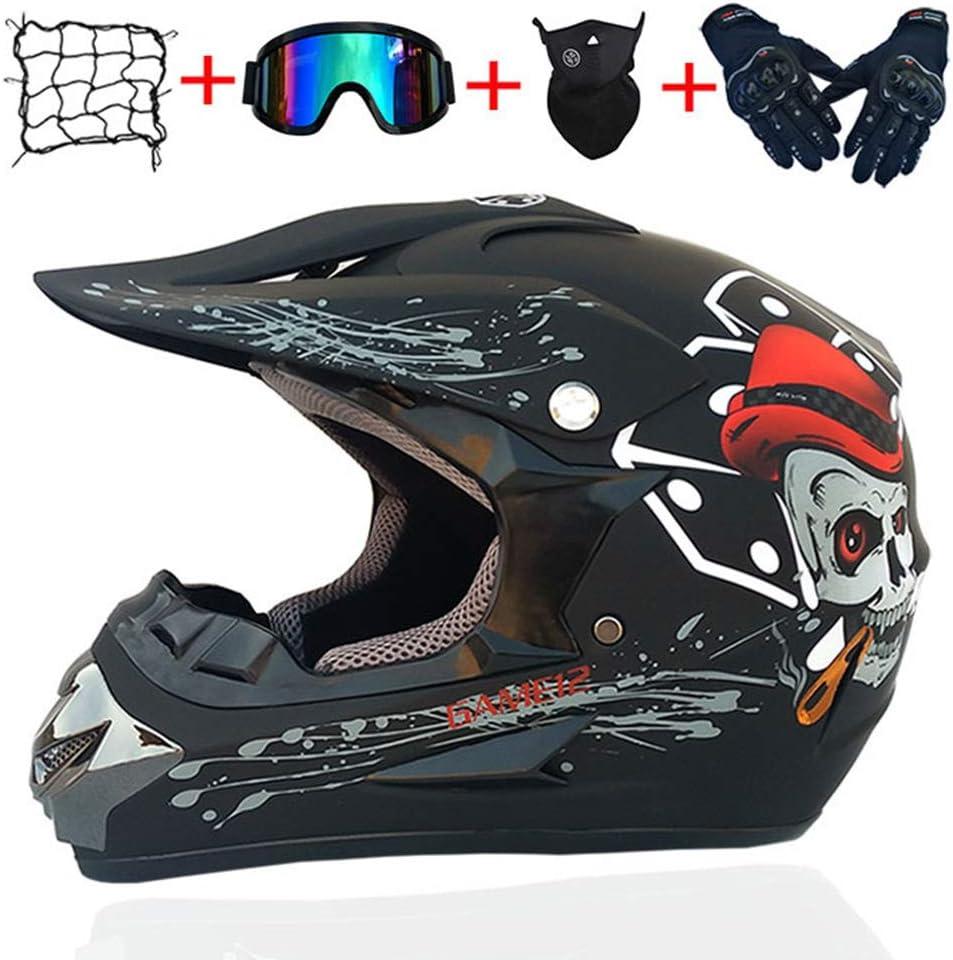 Casco de Descenso para j/óvenes Adultos Regalos Gafas m/áscara Guantes Bolsillo Neto BMX MTB ATV Bicicleta Carrera Integral Integral Casco