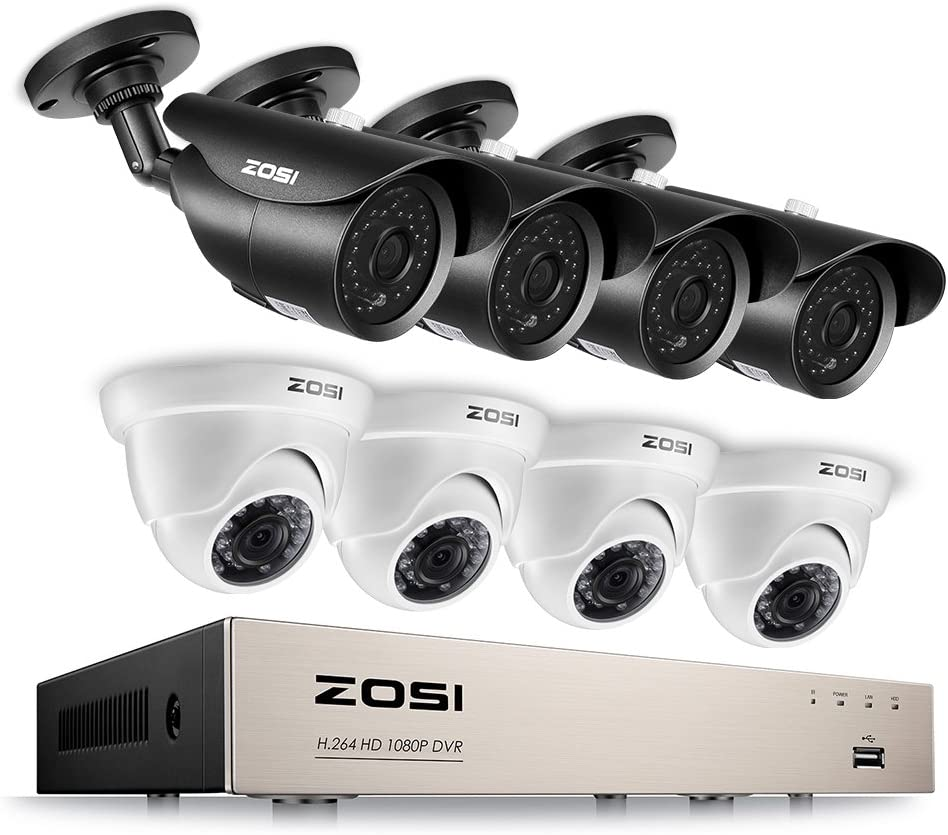 ZOSI 1080p 8CH Security Camera System, 8Channel 1080P Surveillance DVR Recorder with 8 HD 2.0MP 1920TVL Weatherproof Outdoor Bullet Dome CCTV Cameras with 120ft 65ft night vision, No Hard Drive