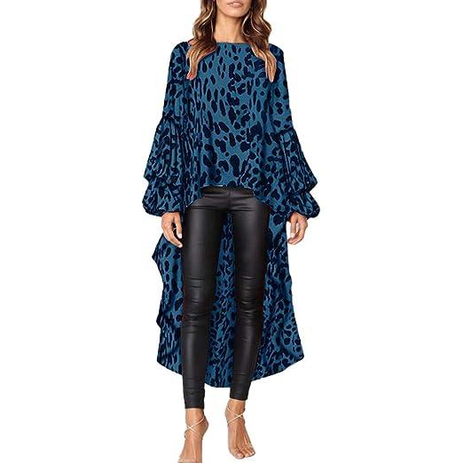 6a8f87471ec Kaicran Womens Long Sleeve Leopard Print Blouse High Low Asymmetrical  Irregular Hem Ruffles Tunic Tops Shirt