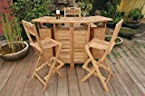Outdoor Folding Home Bar Set with 4 Stools Deal (Small Image)