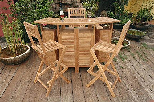 Anderson Teak Outdoor Folding Home Bar Set with 4 Stools