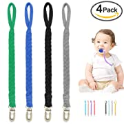 Pacifier Clip for Boys and Girls, Baby Universal Pacifier Holder for All Styles Pacifiers, Teething Toy or Soothie -Pack of 4PCS(Green/Jewel Blue/Navy Blue/Gray)