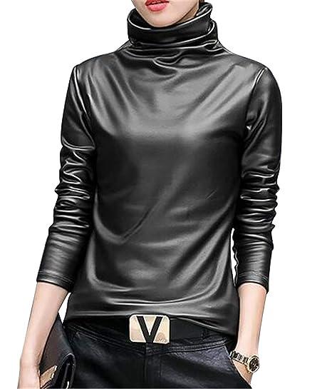 c41ab6790c45 WAWAYA Women Long Sleeve Turtle Neck Winter Faux Leather Top Blouse T-Shirt  at Amazon Women's Clothing store: