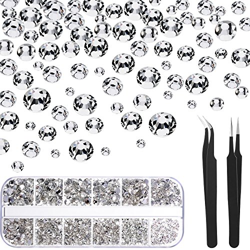 16 Facet Beads Crystal (TecUnite 1728 Pieces Crystals Nail Art Rhinestones Round Beads Flatback Glass Charms Gems Stones and 2 Pieces Tweezers with Storage Organizer Box, SS3 6 10 12 16 20, 288 Pieces Each Size (Clear))