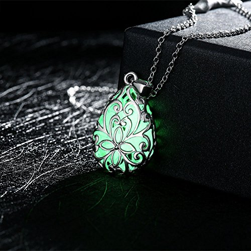 - khime Glow in Dark Locket Silver Hollow Glowing Stone Luminous Choker Pendant Necklace Color Flourescent