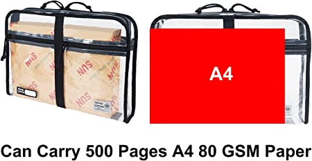 Clear plastic carry bag for papers
