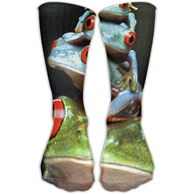 Unisex Tube Socks Crew Frog Baby And Father Soccer Comfort Over The Calf Stockings For Sport And Travel