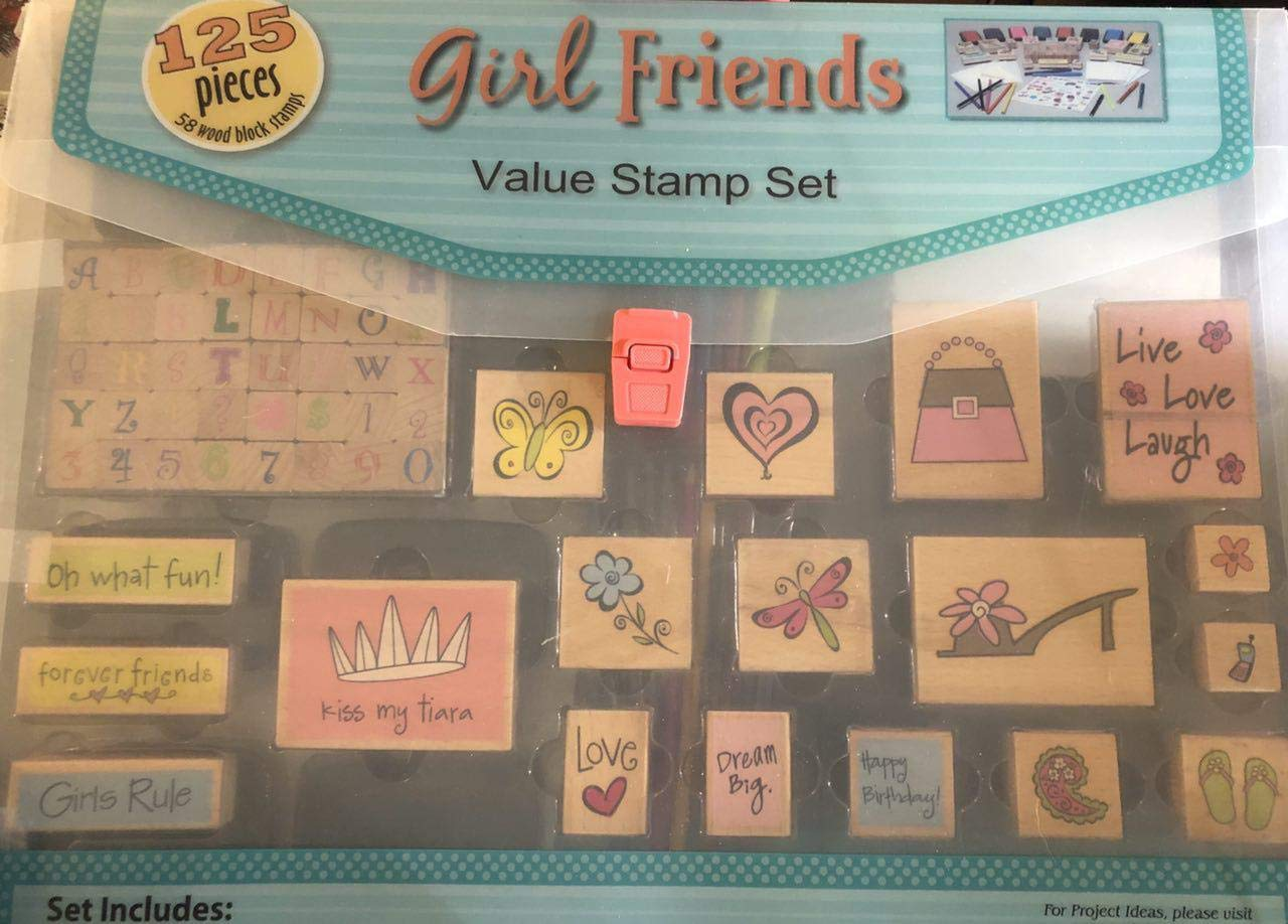 125 Pieces Girl Friends Stamp Set Vintage by Michaels