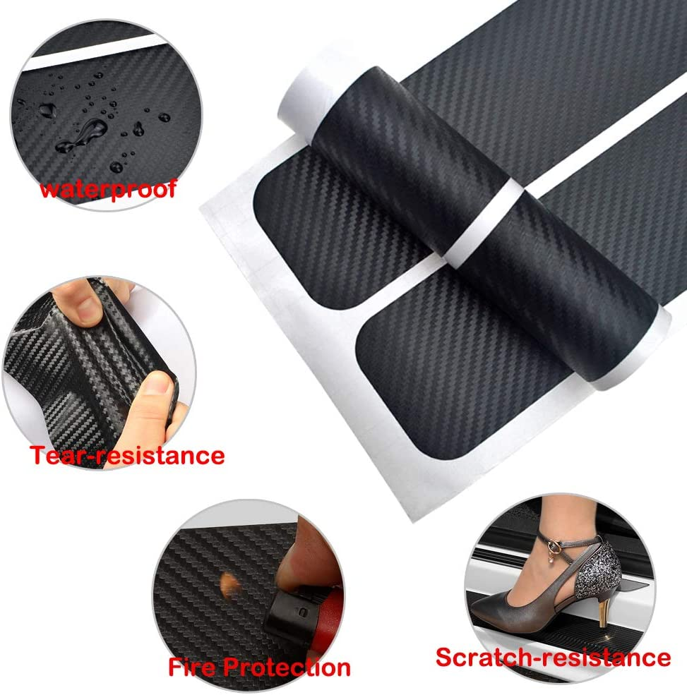 4Pcs Car Door Sill Protector Strips and 2 Pcs Reflective Stickers 5D Carbon Fiber Car Door Sill Guard Sticker Black Anti Scratch Door Sill Film with Strong Adhesive for All Car SUV Truck