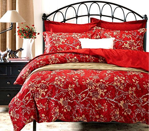 Asian Duvet Cover (Red Floral Duvet Cover Set, Vintage Flowers Pattern Printed, Soft Microfiber Bedding with Zipper Closure (3pcs, Full Size))