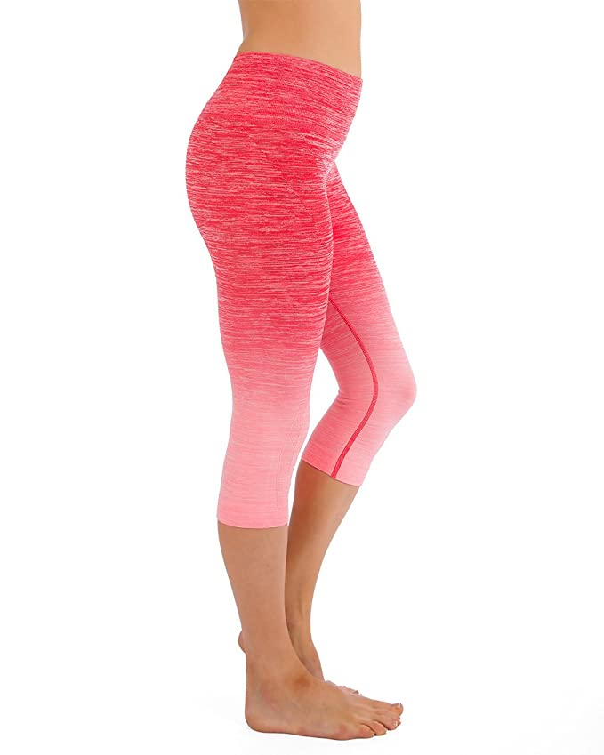 6d6f4d2eac Amazon.com: Homma Women's Premium Ombre Active Workout Cropped Yoga  Leggings Running Pants: Clothing