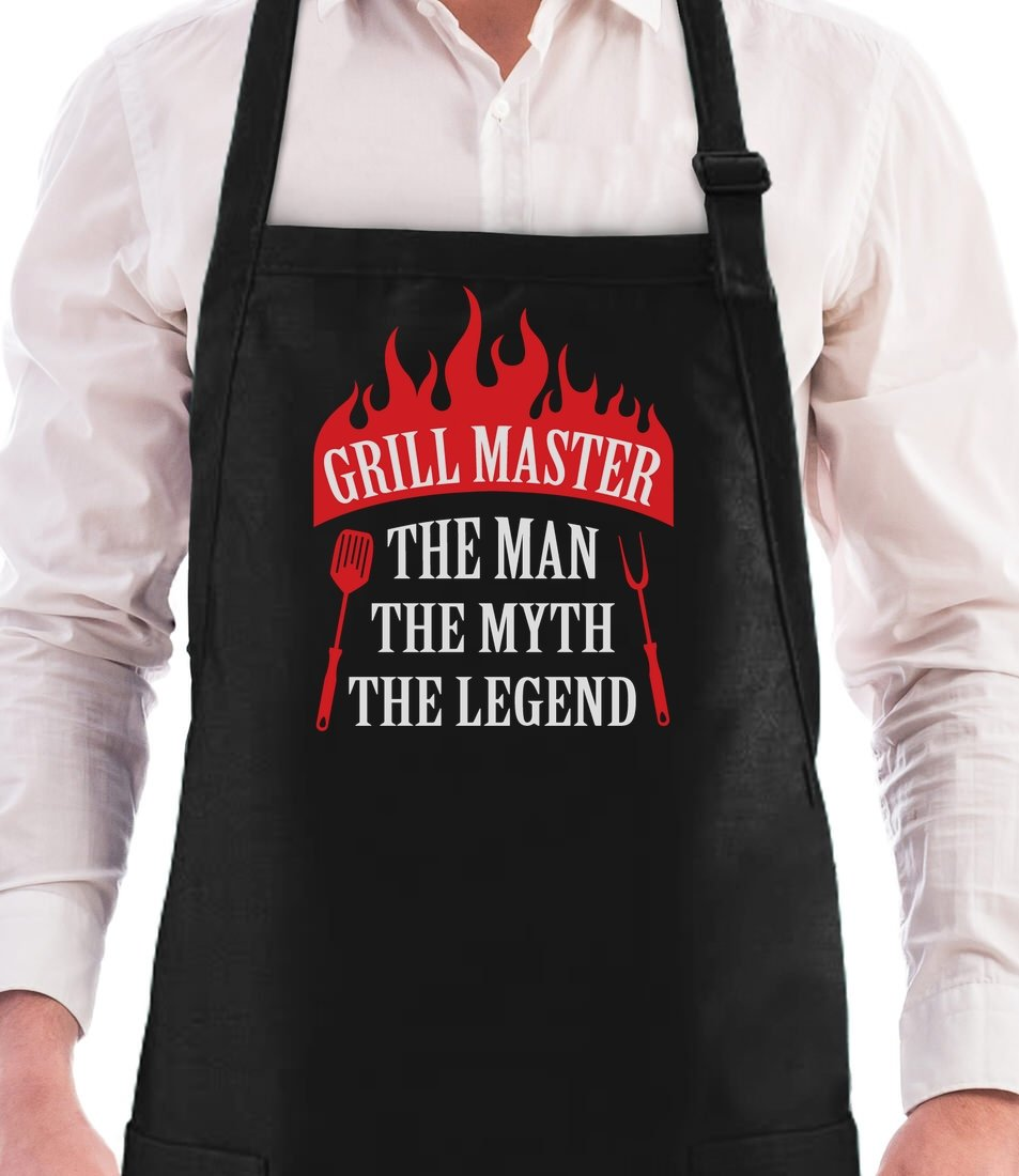 Grill Master The Man The Myth The Legend Griller Gift Idea Funny BBQ Chef Apron One Size Black