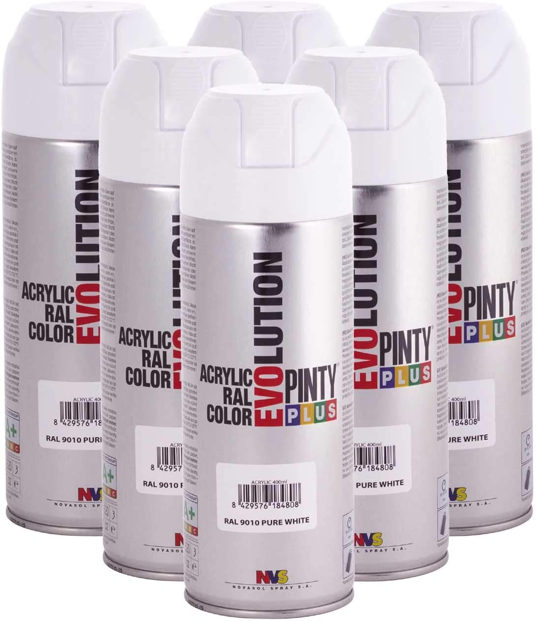 Pintyplus Evolution Solvent Based Spray Paint - 11oz, Pure White. Fast Dry, Acrylic Spray Paint For Wood, Stone, Cardboard and Paper. Low Odor. RAL 9010. Pack of 6
