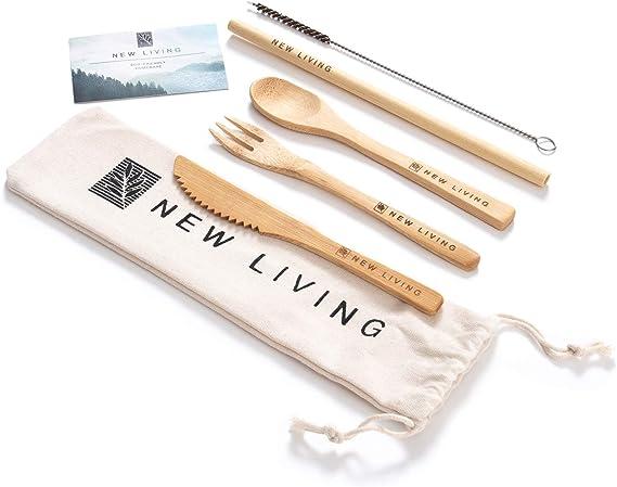 Juego de cubiertos de bambú   Reutilizable, para viajes   Incluye pajita de bambú, tenedor, cuchillo, cuchara, limpiador y estuche de transporte   ...