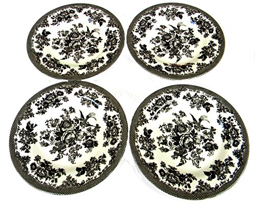 Royal Stafford Black and White Toile Pheasant Salad Dessert Plates