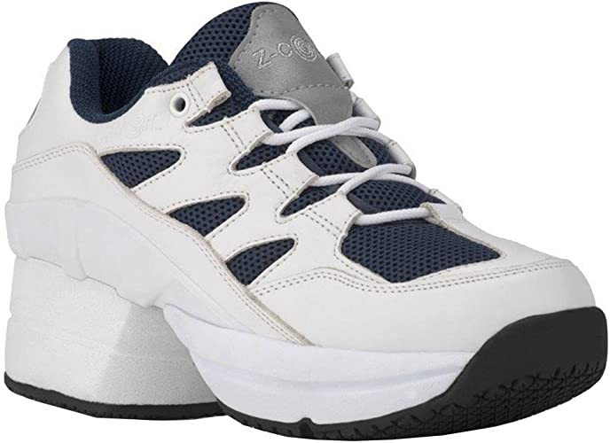 Z-CoiL Pain Relief Footwear Mens Liberty Slip Resistant Gray Leather Tennis Shoe