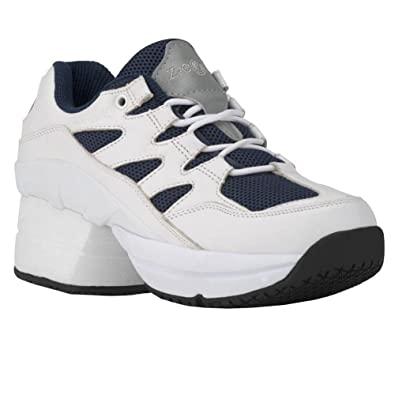 a5bd103c58 Amazon.com | Z-CoiL Pain Relief Footwear Men's Freedom Slip Resistant  Enclosed Coil White-Navy Leather Tennis Shoe | Tennis & Racquet Sports