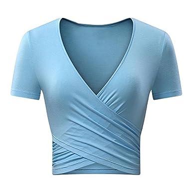 Jusfitsu Damen Tief V-Ausschnitt Bodycon Tops Sexy Sommer Kurzarm T-Shirt