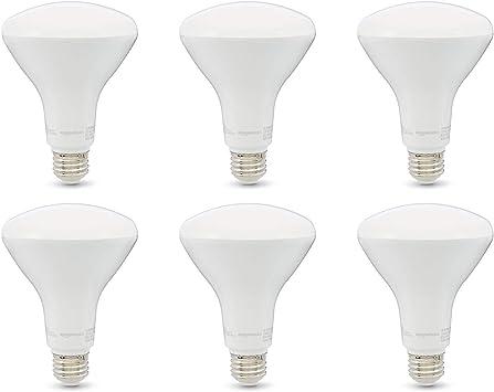 Amazon Basics 65W Equivalent, Soft White, Dimmable, 10,000 Hour Lifetime, BR30 LED Light Bulb   6-Pack