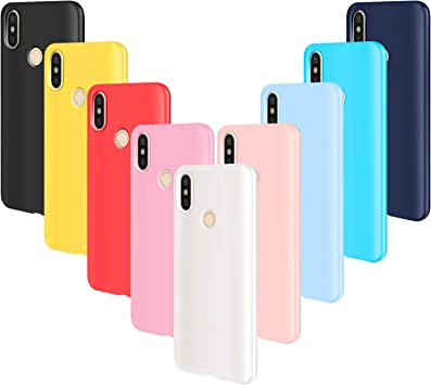 AROYI 9pcs Funda para Xiaomi Redmi Note 5, Carcasa Protector Ultrafino Silicona TPU Shock-Absorción Anti-rasguños Case Cover-Negro Rojo Azul Oscuro Rosa Amarillo Azul Morado Azul Claro Traslucido: Amazon.es: Electrónica