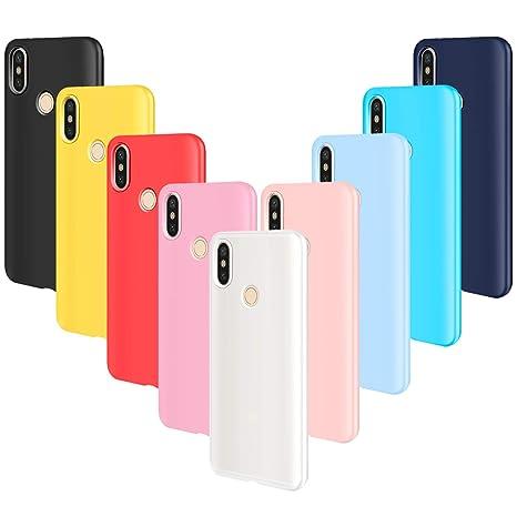 AROYI 9pcs Funda para Xiaomi Redmi Note 5, Carcasa Protector Ultrafino Silicona TPU Shock-Absorción Anti-rasguños Case Cover-Negro Rojo Azul Oscuro ...