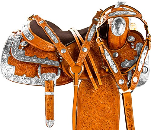 16-premium-western-leather-show-horse-saddle-trail-free-tack-set-bridle-reins-breast-collar-16